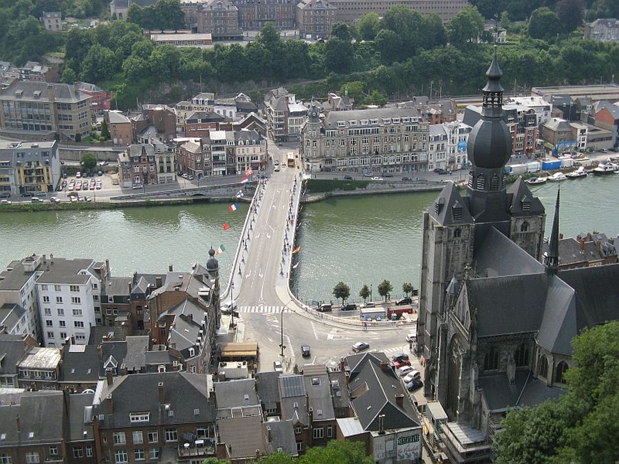 A view of Dinant and the River Meuse from The Citadel where much of the fighting took place before the city surrendered to the Germans in the early days of World War One