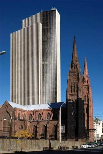 Empire State Plaza and Immaculate Conception Cathedral