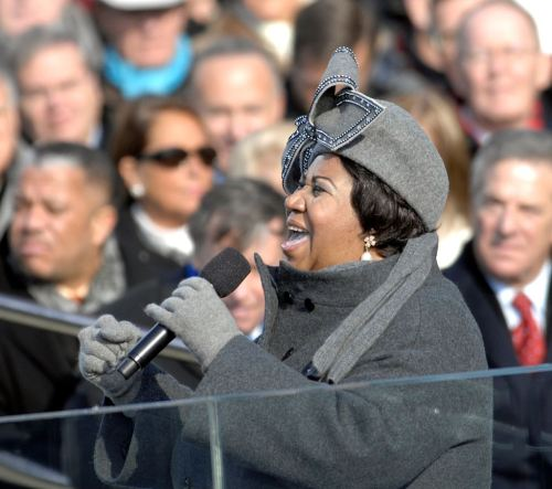 Franklin singing at the 2009 inauguration of President Obama