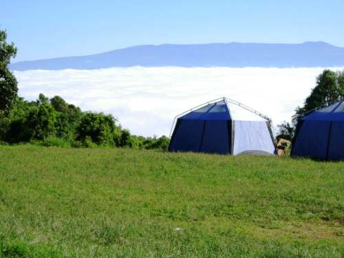 Campground above clouds