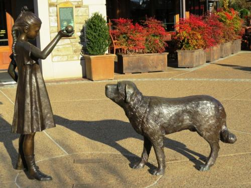 Scupture of Cornelia & Cedric, the Vanderbilts beloved Saint Bernard, photo by Mike Keenan