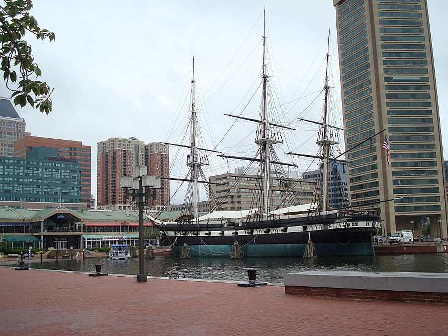 Historic ship USS Constellation in the Inner Harbour
