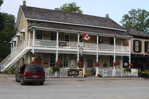 The historic Albion Inn anchors one end of Main street, Bayfield