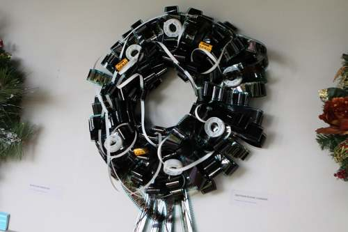 This unusual wreath is made of 16 mm KODAK film