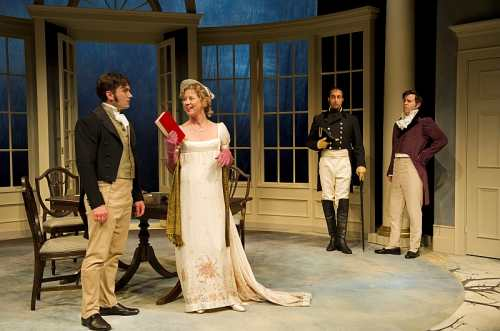 Gray Powell as Septimus Hodge, Nicole Underhay as Lady Croom, Sanjay Talwar as Captain Brice, RN and Andrew Bunker as Ezra Chater. Photo by David Cooper