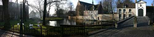 Outside of the Beguinage, with the Minnewater Park in the background.Wikipedia Commons