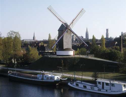 Windmill & Canal boats, Brugge Tourism