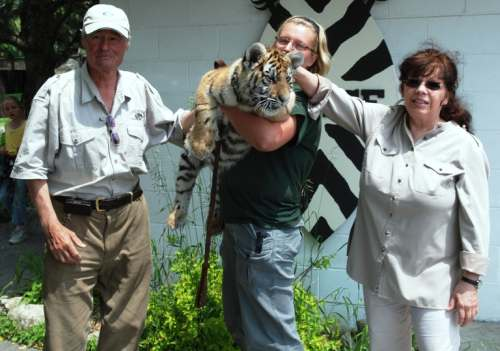 Jungle Cat World owners Wolfram & Christa Klose with Anushka