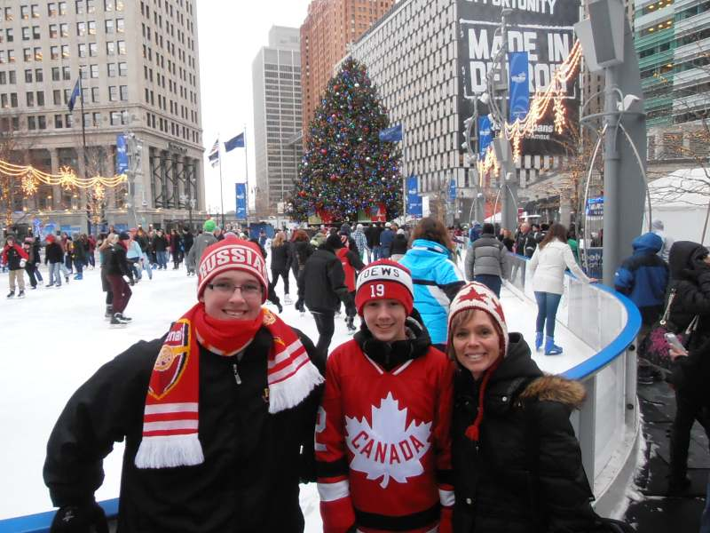 Masters Family at the outdoor rink, Campus Martius Park, Downtown Detroit