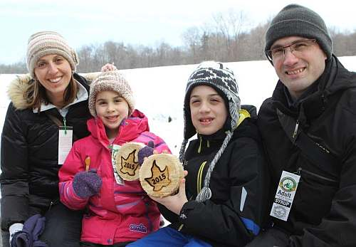 Christina,Mila,Carter and Jason Fortuna of Niagara on the Lake take home a souvenir of their visit to White Meadows Sugar Bush