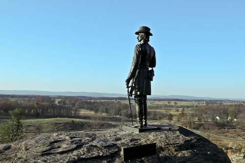 Gettysburg National Park, Little Round Top, Union General Warren statue, photo by Mike Keenan