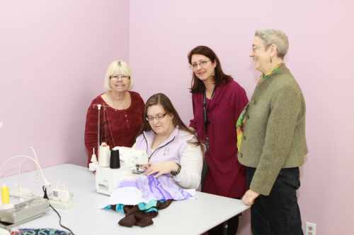This group of ladies is attending a class on the making of bras. The course is one of a kind offered at Bra Makers Supply Shop on Ottawa Street North
