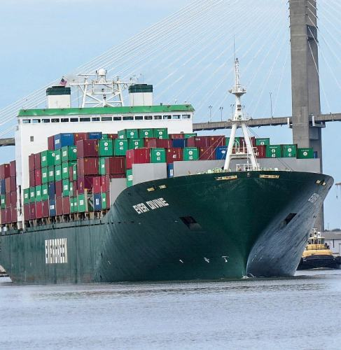 Container Ship Under Talmadge Memorial Bridge, photo by Mike Keenan