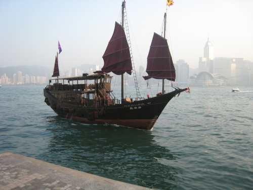 Replica of old junk for sightseeing tours of the harbor