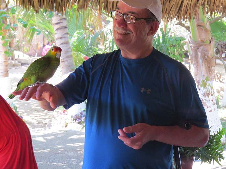 Writer Mike Keenan with parakeet