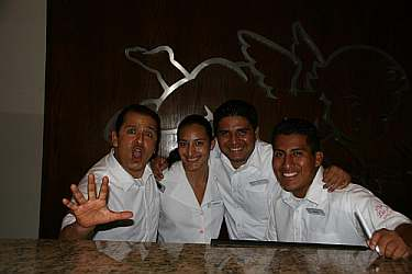 The friendly front office staff at the Las Brisas Hotel