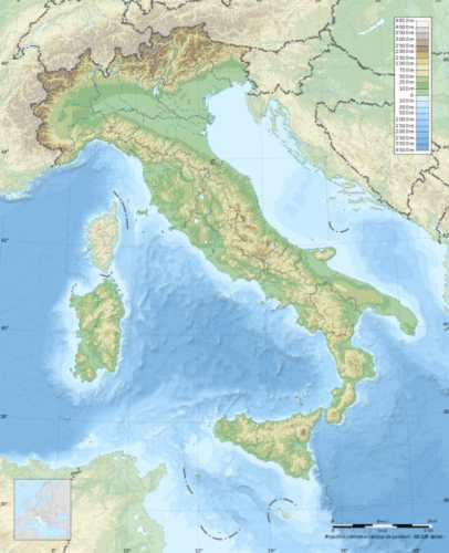 Topographic map of Italy, photo by Wikimedia Commons