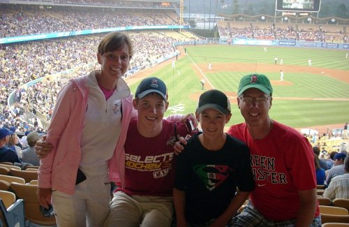 The Masters family at Dodger Stadium in LA