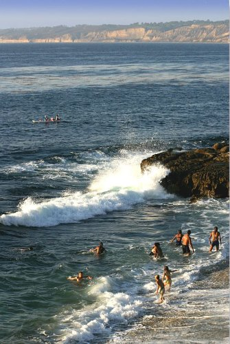 Bathers at Scripps Cove, La Jolla