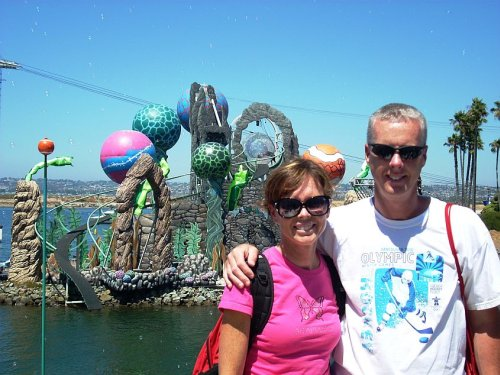 Sea World in San Diego with the fabulous set for Cirque de la Mer in the background