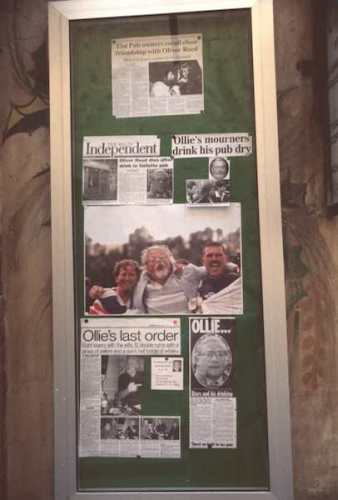 Tributes to Oliver (Ollie) Reed posted outside The Pub - Photo by Burt Fine