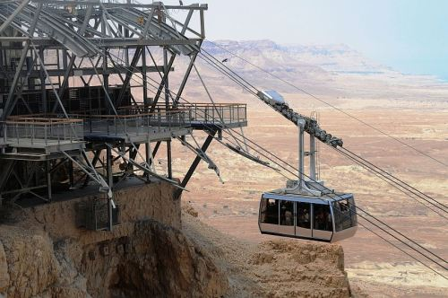 Cable Car Approaches Top Of Mount Masada
