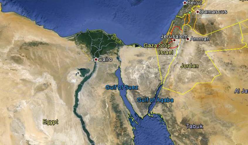 Mount Sinai Egypt bordered by Gulf of Suez and Gulf of Aqaba