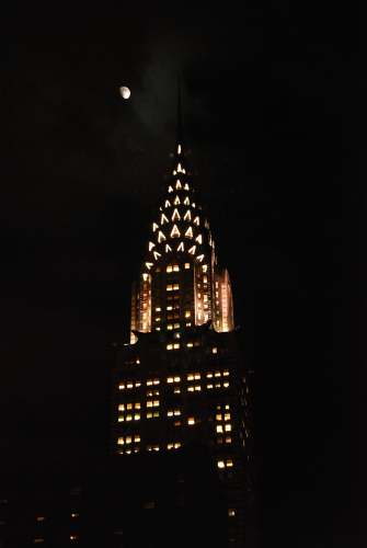Moon & Chrysler Building, photo by Mike Keenan