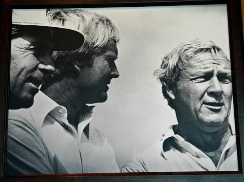 Three golf greats, Palmr, Nicklaus & Player, photo by Mike Keenan