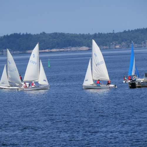 Sailboats in Sound outside Stockey Centre, photo by Mike Keenan