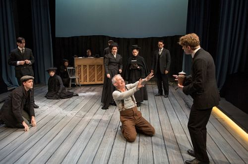 Patrick Galligan as Hatch and Wade Bogert-O Brien as Willy Carson with the cast of The Sea. Photo by David Coope