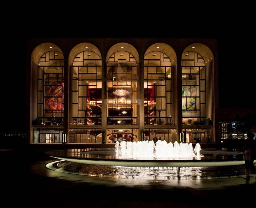 The Metropolitan Opera House at Lincoln Center Plaza, at night
