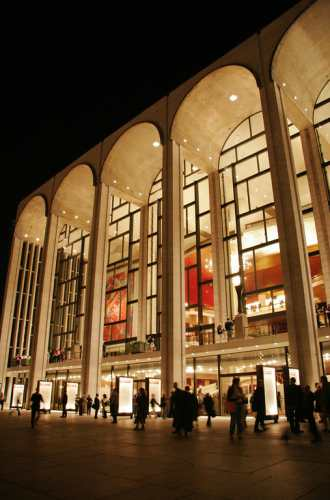 An exterior view of the Metropolitan Opera House in New York City