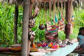 A pop-up craft market near a village in the jungle