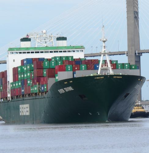 Savannah River, container ship, photo by Mike Keenan