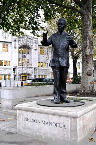 London, England, Nelson Mandela Statue, Park Across from Parliament Buildings photo by Mike Keenan