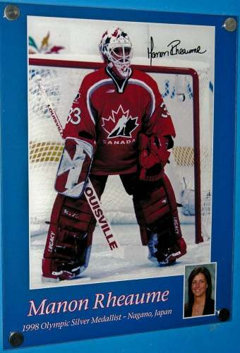 Calgary, Alberta, Olympic Rink, Manon Rheaume poster, photo by Mike Keenan