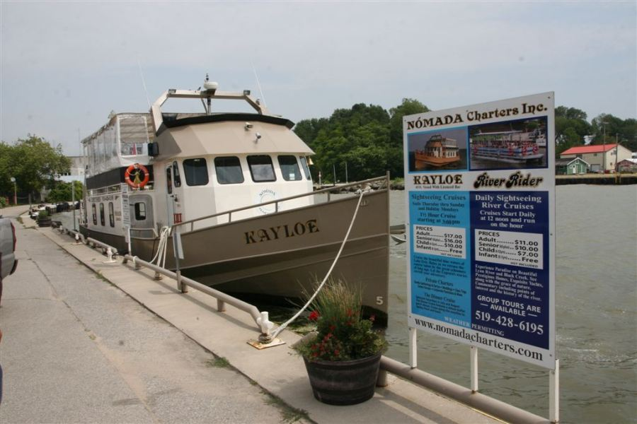 The 50 passenger re-fitted tug Kayloe moored at the Port Dover dock