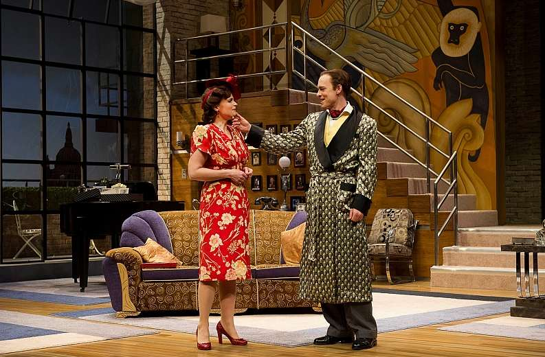 Claire Jullien as Liz Essendine and Steven Sutcliffe as Garry Essendine in Present Laughter. Photo by David Cooper