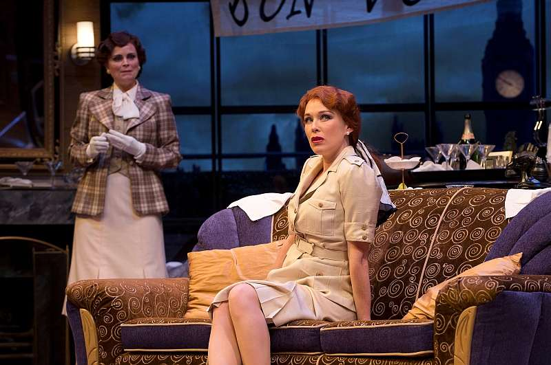 Claire Jullien as Liz Essendine and Moya O'Connell as Joanna Lyppiatt in Present Laughter. Photo by David Cooper