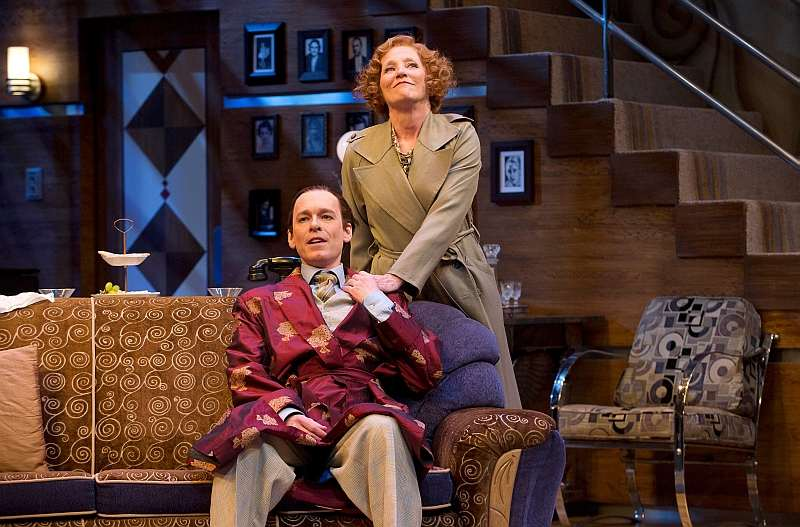 Steven Sutcliffe as Garry Essendine and Mary Haney as Monica Reed in Present Laughter. Photo by David Cooper