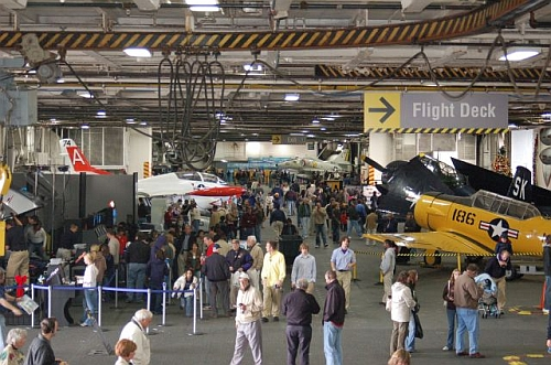 Busy USS Midway Hangar Deck photo by Mike Keenan