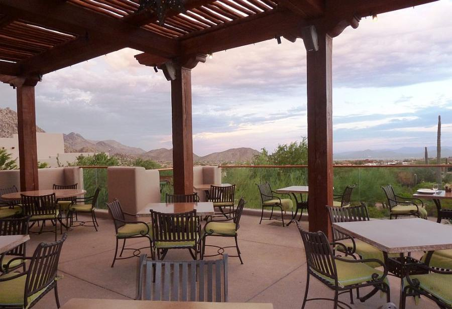 View of Pinnacle Peak from patio of Four Seasons