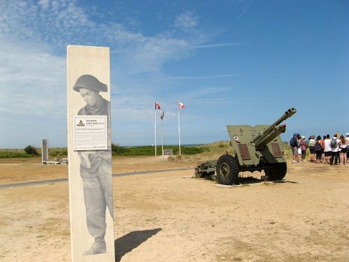 A banner featuring Canadian soldier Garth Webb, the driving force behind fundraising for the Juno Beach Centre in Normandy, greets visitors to this Canadian World War Two museum near one of the D-Day beaches