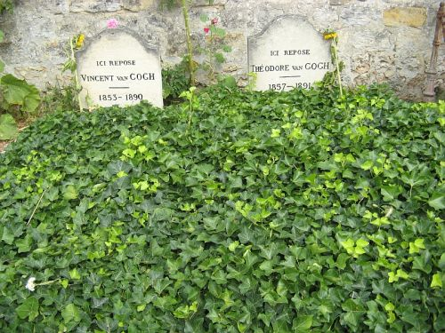 The graves of Vincent van Gogh and his brother Theo lie in a small cemetery above the town of Auvers-sur-Oise where Vincent died of a gunshot wound
