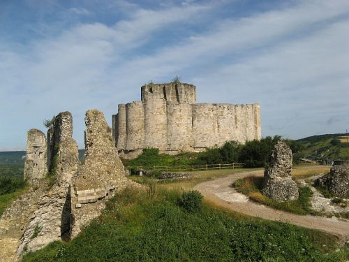 The ruins of Chateau Gaillard, a castle built by Richard the Lionheart, are situated above the town of Andelys in Normandy