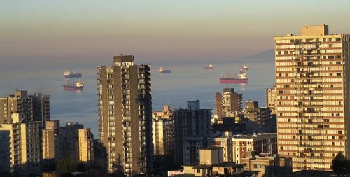 Century Plaza Hotel & Spa view, ships in English Bay, photo by Mike Keenan