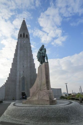 Leif Ericson statue and church, photo by Mike Keenan