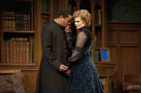 Nigel Shawn Williams as The Reverend James Mavor Morell and Claire Jullien as Candida  Photo by Emily Cooper
