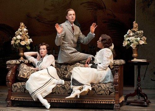Moya OConnell as Lady Catherine Lasenby, Kyle Blair as The Honourable Ernest Woolley and Cherissa Richards as Lady Agatha Lasenby